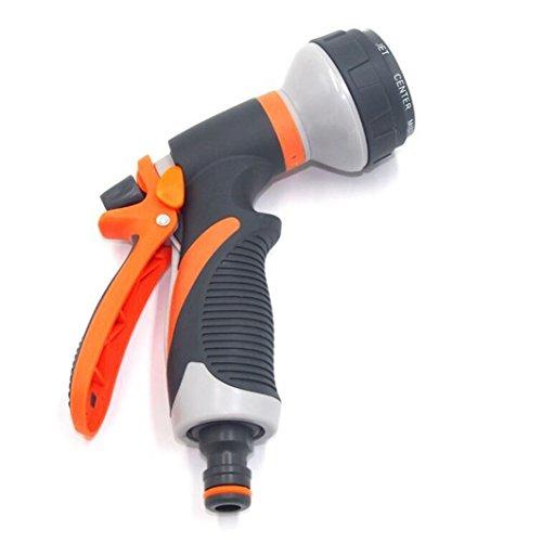 EnjoCho 8 Watering Patterns Rubber Handle Water Nozzle Head Hose Sprayer  Garden Spray Auto Car Washing Sprinkler Water Gun (Colorful)
