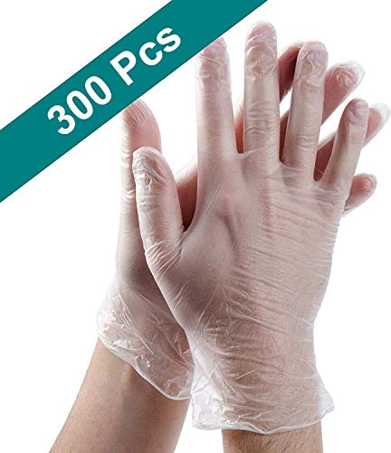 300PCS Disposable Plastic Gloves/Clear Polyethylene Gloves/Work Gloves/Plastic Disposable Food Prep Glove/For Cooking…