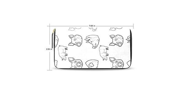 Women LeatherPig Head ElementWallet Large Capacity Zipper Travel Wristlet Bags Clutch Cellphone Bag