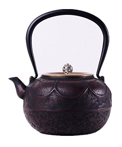 (RUIKA Japanese tetsubin Cast Iron Teapot Lotus pattern Copper cover Kettle 1200ml 40)