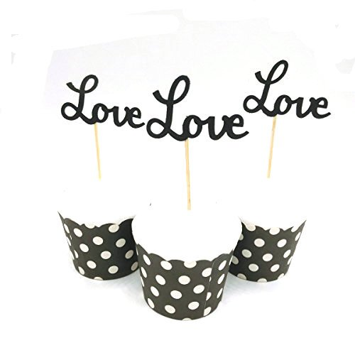 Valentine Birthday Cake - Hemarty 24pcs Black Love Cupcake Toppers Wedding Cupcake Toppers Valentine's Day Birthday Appetizer Horderves Food Pick