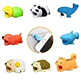 M.A.F.T. Cable Bite for iPhone, 8 pcs, Cute Animals (Blue Shark/Panda/ Turtle/Dog/ Squirrel/Hedgehog/ Sheep/Whale) Animal Shapes Cable Accessory for Phone Cables Protects
