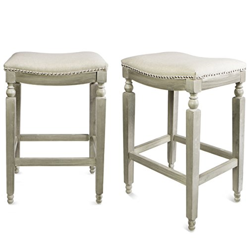 Barton Isabel Padded Counter Saddle Backless Indoor/Outdoor Bar Stool, 28.5 Inch, Set of Two by Barton
