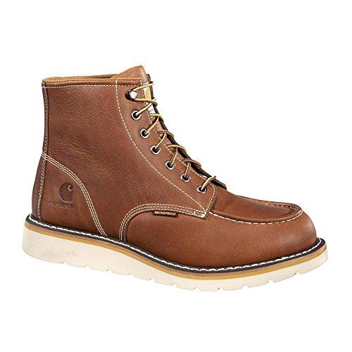 Carhartt CMW6275 Men's 6-Inch Waterproof Tan Wedge Boot Steel Toe Work, 9.5 W US (Toe Steel Leather Wedges)