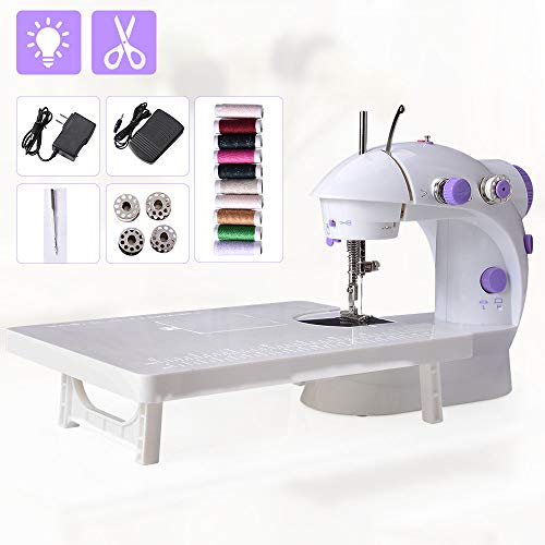 Beginner Sewing Machine, Mini Portable Electric Sewing Machine with Lamp and Thread Cutter, High & Low Speeds, Battery or Adapter Power Supplies (Purple)