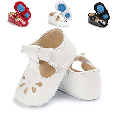 (TIMATEGO Baby Girls Mary Jane Flats Non-Slip Toddler Infant First Walkers Princess Dress Shoes(6-12 Months M US Infant,H-White))