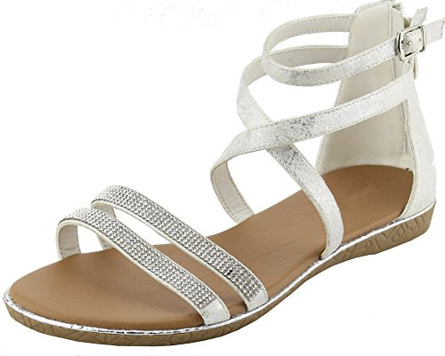 Cambridge Select Womens Open Toe Crisscross Ankle Strappy Crystal Rhinestone Flat Sandal Silver mm6cXNXFeU