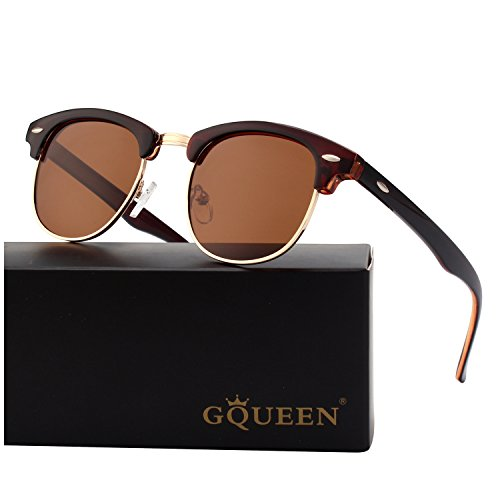 - GQUEEN Classic Horn Rimmed Semi Rimless Polarized Sunglasses for Men Women GQO6