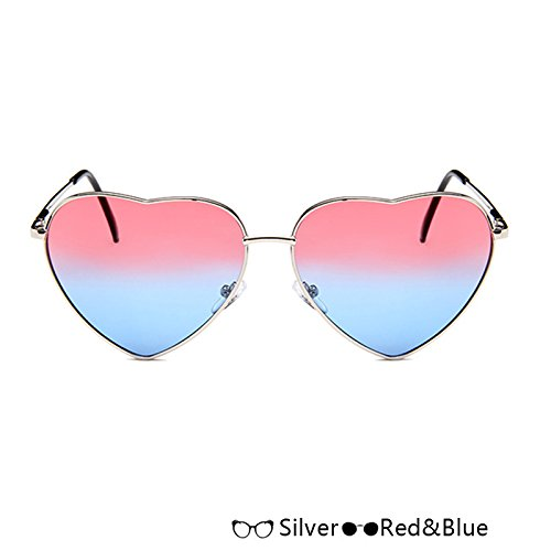 Silver Sol Atrás RedBlue Mujer Lujo De De En Forma De W Sol De Azul Gafas Rosa Oro W TIANLIANG04 De Corazón Gafas Moda 4ERpq