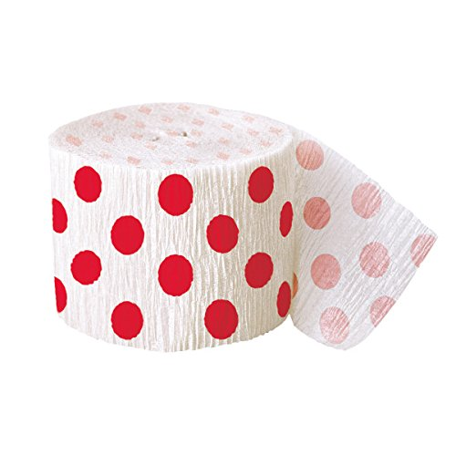 Crepe Polka Dot (30ft Red Polka Dot Crepe Paper Streamers)