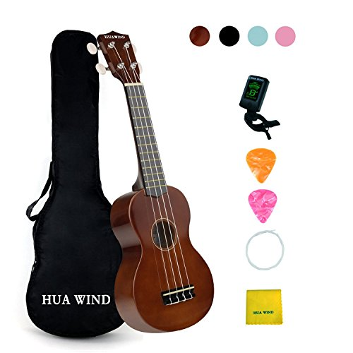 HUAWIND Soprano Ukulele For Beginners Four String Ukulele Start Pack W/ Gig Bag Tuner Picks Polish Cloth Extra Strings (Brown)