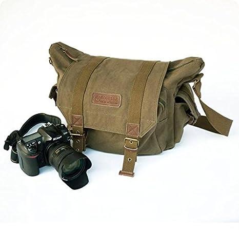 y.s.y lienzo hombro Bookbag Bolsa de ordenador portátil + cámara réflex digital lienzo bolso bandolera para Sony Canon Nikon Olympus ejército verde: ...