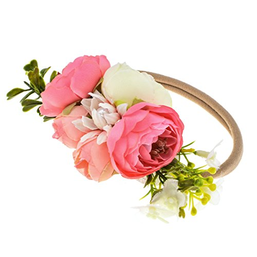 DreamLily NewBorn Baby Flower Crown Flower Baby Headband Floral Head Piece for Toddler BB13 (Pink) -