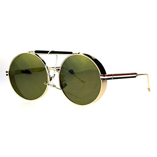 Vintage Fashion Sunglasses Side Cover Round Circle Shades Gold, Gold - Side Sunglasses Shades With