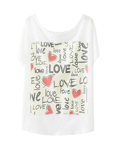 Luna et Margarita Blanco Camiseta de algodón manga del batwing con Print Un tamaño para el tamaño 34 36 38 40 42 LOVE