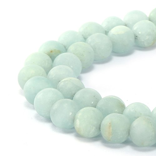 BRCbeads Gorgeous Natural Aqua Color Dyed Quartz Gemstone Smooth Matte Round Loose Beads 6mm Approxi 15.5 inch 58pcs 1 Strand per Bag for Jewelry Making
