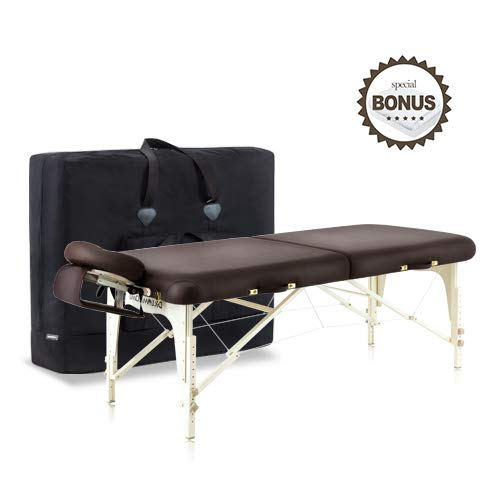 Dr.lomilomi Delux Maple Hardwood Portable Massage Table Spa Bed 101 Package (101, Brown)