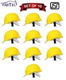 Fabtec Safety Helmet Hard Hat Head Protection Outdoor Work Head Saftey Helmet With ISI Mark Yellow (Set of 10)