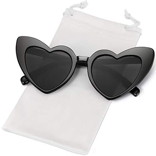 KADIGUCI Heart-Shaped Sunglasses Women Vintga Black Pink Red Heart Shape Sun Glasses ()