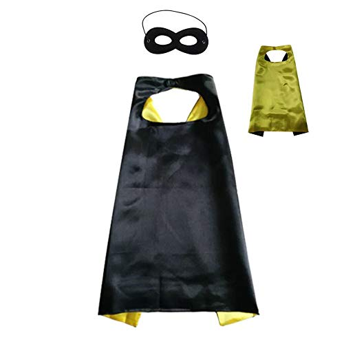 Reversible Kids Superhero Cape with Felt Mask Set for Boys Girls Dress up Costumes Halloween Birthday Party Favors, Black and Yellow - 27.5