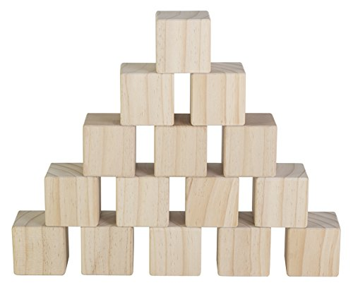 Set of 15 Large Wooden Blocks - 2 Inch Natural Wood Square Cubes - with Sanded Smooth Surface for Photo Blocks, Crafts, Art Supplies, Puzzle Projects and More - Great Toys for Kids & Child (Blocks Square Wood)