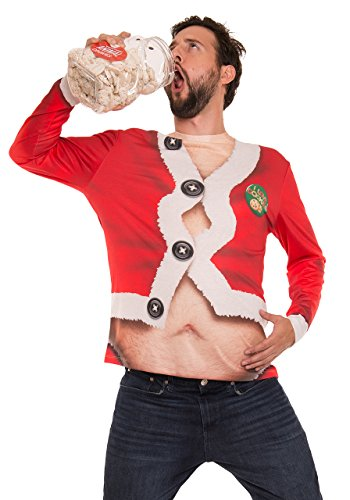 Faux Real Men's Fat Santa Printed Long Sleeve T-Shirt, Red, (Real Santa Suit)