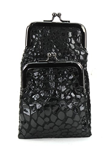 - L.I Genuine leather Lambskin Fold Over Cigarette and lighter Case whit twist clasp (BLACK CROC)