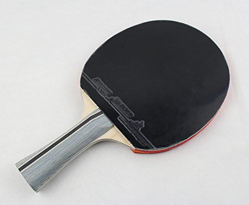 Larsuyar Advanced Trainning Table Tennis Paddle with Carrying Bag- 7 ply Wooden Blade with Long Handle (1 Star Shakehand Racket) by BOER (Image #4)