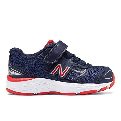 (New Balance Boys' 680v5 Hook and Loop Running Shoe, Pigment/Velocity RED, 9.5 W US Toddler)