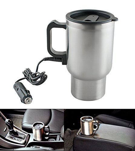 GZQ Car Heated Mug Stainless Steel Electric Thermos Travel Car Insulation Cup Pot for Heating Water, Coffee, Milk and Tea 12V 450ml (Vacuums Vapor Wet)