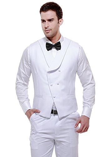 CMDC Men's Classic Solid Waistcoat Slim Fit Tuxedo Suit Vest & Pants U7?White,40 Long? (White Long Tail Tuxedo)