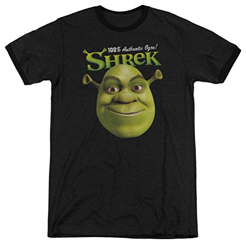 (A&E Designs Shrek 100% Authentic Ogre! Ringer Shirt, Black, Small)