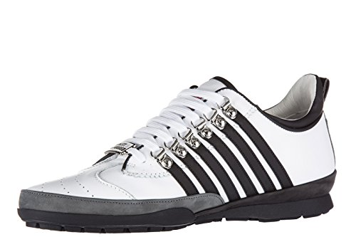 Dsquared2 chaussures baskets sneakers homme en cuir 251 veau sport blanc