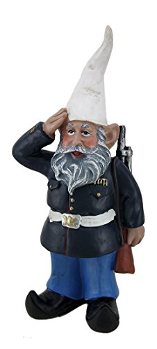 Zeckos Resin Outdoor Statues G.I. George Saluting U.S. Marine Military Gnome Statue 4 X 8.5 X 2.25 Inches Navy