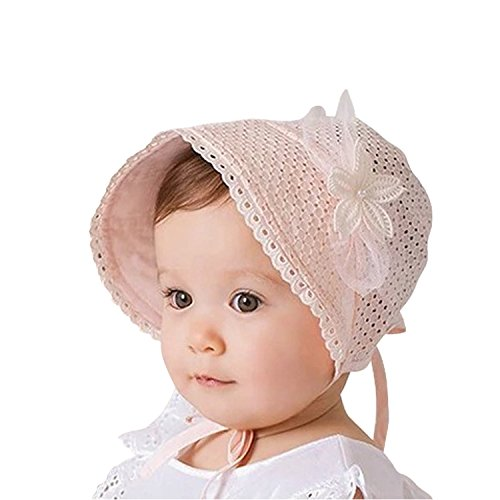 Pink Baby Bonnet - Bigface Up Little Kids Toddlers Eyelet Lace Breathable Bonnet With Flower Hat(Pink)