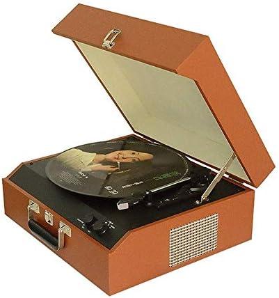 木製の荷物蓄音機ポータブルブルートゥースレコードプレーヤービニールレコードプレーヤーポータブルスピーカーレコードプレーヤー (Wood)