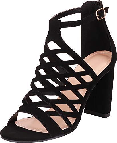 Cambridge Select Women's Open Toe Laser Cutout Caged Chunky Block Heel Sandal,8 B(M) US,Black NBPU