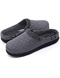 Men's Comfort Suede Fabric Memory Foam Slippers with Plush Fleece Lining