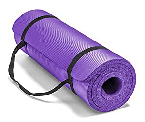 Large & Extra Thick Exercise Mat with Carrying Strap – 12mm Thick Yoga Mat –The Best of Yoga Mats & Exercise Mats on Amazon – Improve Your Health with this Fitness Mat –Pilates Mat –Ab Mat –Workout Mat (Purple)