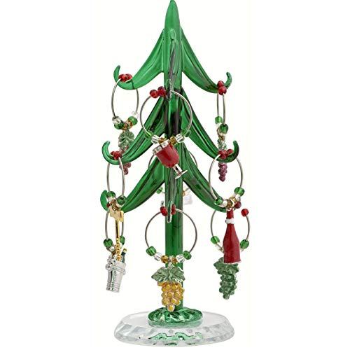"""GC Home & Garden 6"""" Green Glass Wine Tree with Enamel Sommelier Wine Charm Ornaments from GC Home & Garden"""