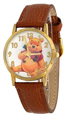 Gold Tone Floating Crystal Watch - Disney WTP103 Women's Gold Tone Floating Bees Brown Winnie The Pooh Leather Band Watch