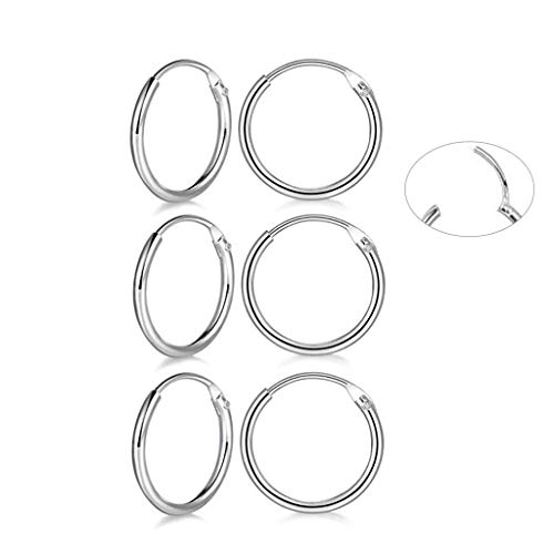 3 Pairs Sterling Silver Small Hoop Earrings Hypoallergenic Endless Hoop Earrings Set Cartilage Huggie Nose Lip Rings for Women Men Girls, 8mm 10mm 12mm, Upgrade Easy to Clasp