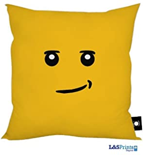 Building Block Smirk Smile Face Design Cushion Made In Yorkshire Great Gift Idea
