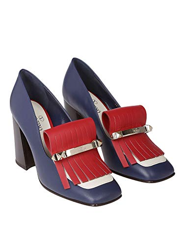 Mocasín Valentino Rw2s0k85vbkhr5 Mujer Cuero Azul 4FqSFI
