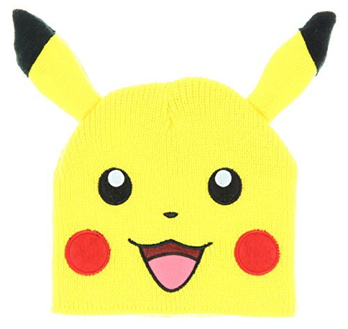 Pokemon Bioworld Pikachu Big Face Fleece Cap Beanie with Ears]()