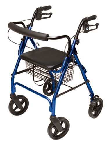 Lumex Aluminum Rollator with Curved Back Wheels, 8 Inches, Royal Blue