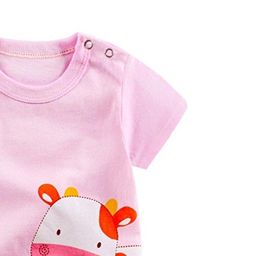 Omiky® Säuglingsbaby-Mädchen-Karikatur-Spielanzug-Niedlicher Overall-kletternde Kleidung Rosa