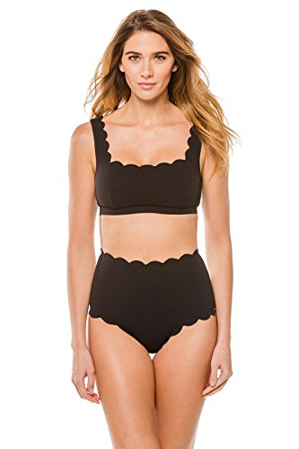 Marysia Women's Antibes Scallop Palm Springs Bikini Top Black (Antibes Collection)