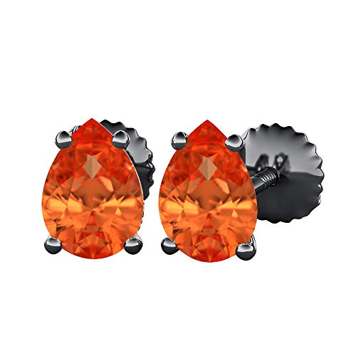 Pear Cut Created Orange Sapphire (10X12MM) Solitaire Stud Earrings 14k Black Gold Over .925 Sterling Silver For Women's -