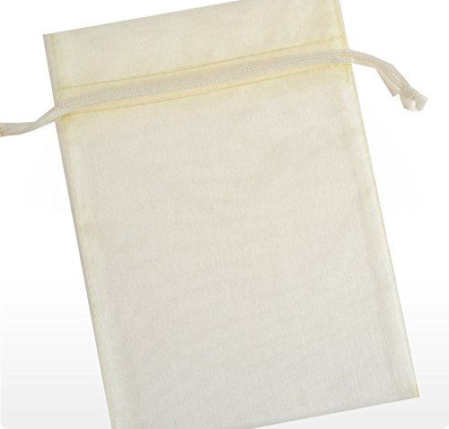 (60 Pcs Sheer Organza Drawstring Pouches Gift Bags Ivory Color 6x9 Inches)